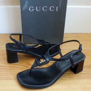 $595~GUCCI~Leather GG Logo Block Heel Sandal~5/5.5